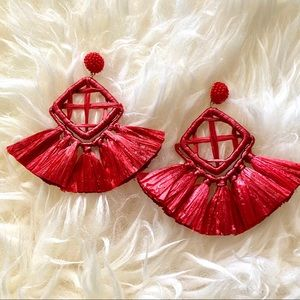 New! Anthro Red Raffia 2019 Statement Earrings
